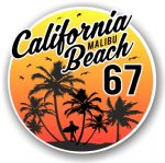 California Malibu Beach 1967 Surfer Surfing Design Vinyl Car Sticker Decal  95x95mm